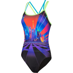 speedo Neon Fan Placement Badeanzug Damen black/bright zest/aquasplash